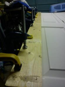 Picture of the second edge clamped during glueing