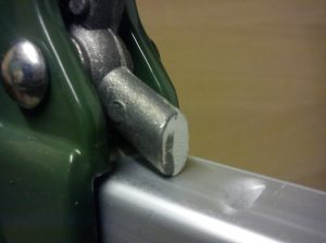Catch on bar clamp after filing down flat