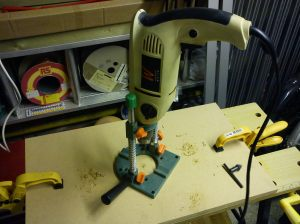 Axminster drill guide and Axminster power drill