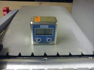 Goniometer on outfeed table with 0.2 degree reading