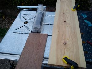 Cutting zero clearance base for circular saw on wolfcraft power tool table
