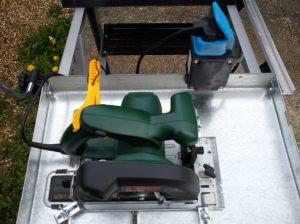 Bosch PKS46 saw mounted to Wolfcraft Mastercut 1000