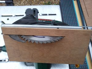 Ply zero clearance base on Bosch PKS46 circular saw