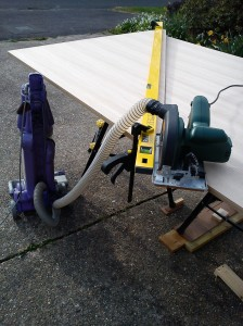 Bosch PKS46 circular saw with ply zero clearance base connected to Dyson