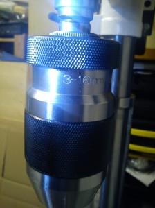 Closeup of chuck of AWBRD550 drill