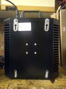 Rear panel showing angled vents and mounting ears