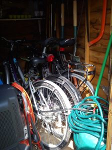 Bikes in shed after relocation from garage