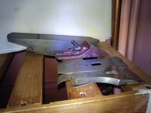 Acorn No. 4 hand plane in pieces drying in the airing cupboard