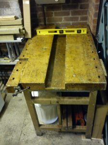 Small bench in place under the boiler