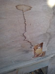 End panel damage on larger bench