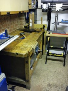 Large bench assembled under wall cupboards