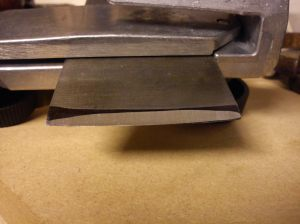 Acorn blade during sharpening
