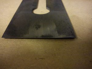 Back of Acorn blade during grinding