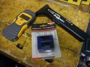 Various gizmos - metal detector, moisture meter, magnetiser/demagnetiser