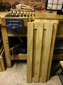 Wooden slatted shelves