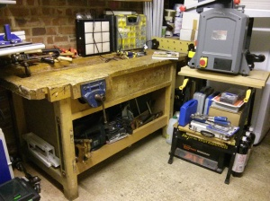 Bench with Hitachi saw underneath
