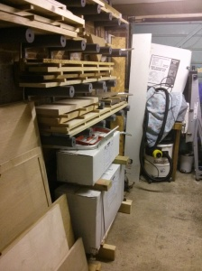 Lathe boxes under timber storage