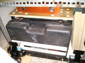 Bottom shelf of drill press stand