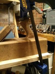 Glueing wooden plane tote