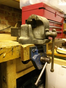 Larger Handy Model G. 3A vice on bench